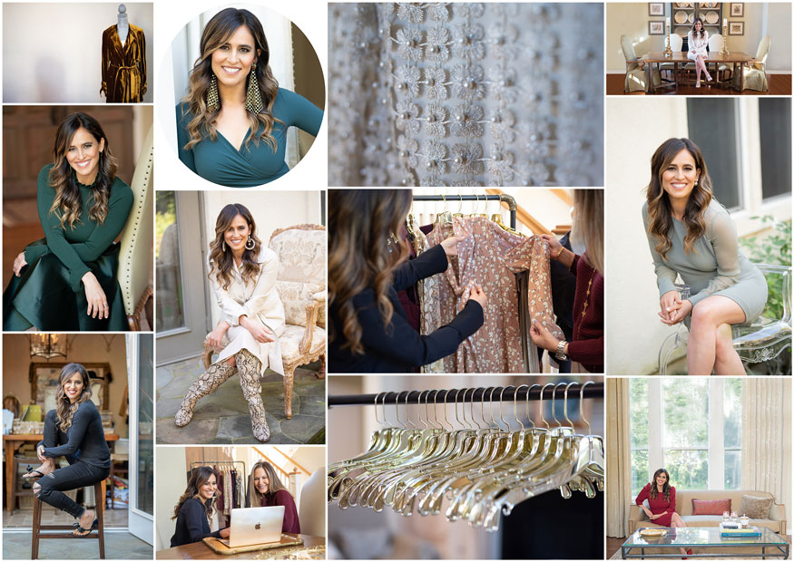 Collage of images of businesswoman professional stylist